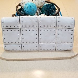Michael Kors Bone Silver Studded Clutch Purse